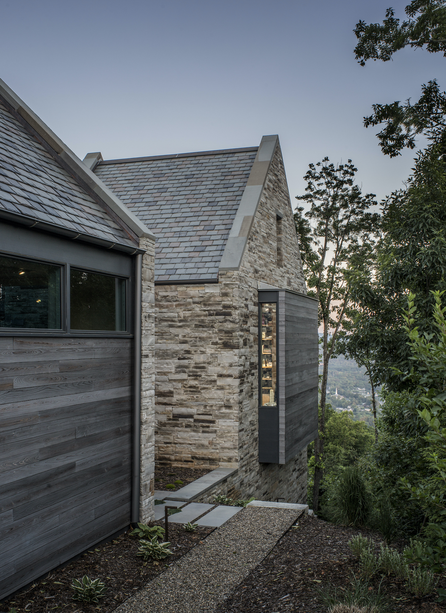 brick and wood siding modern modern home in Asheville N C