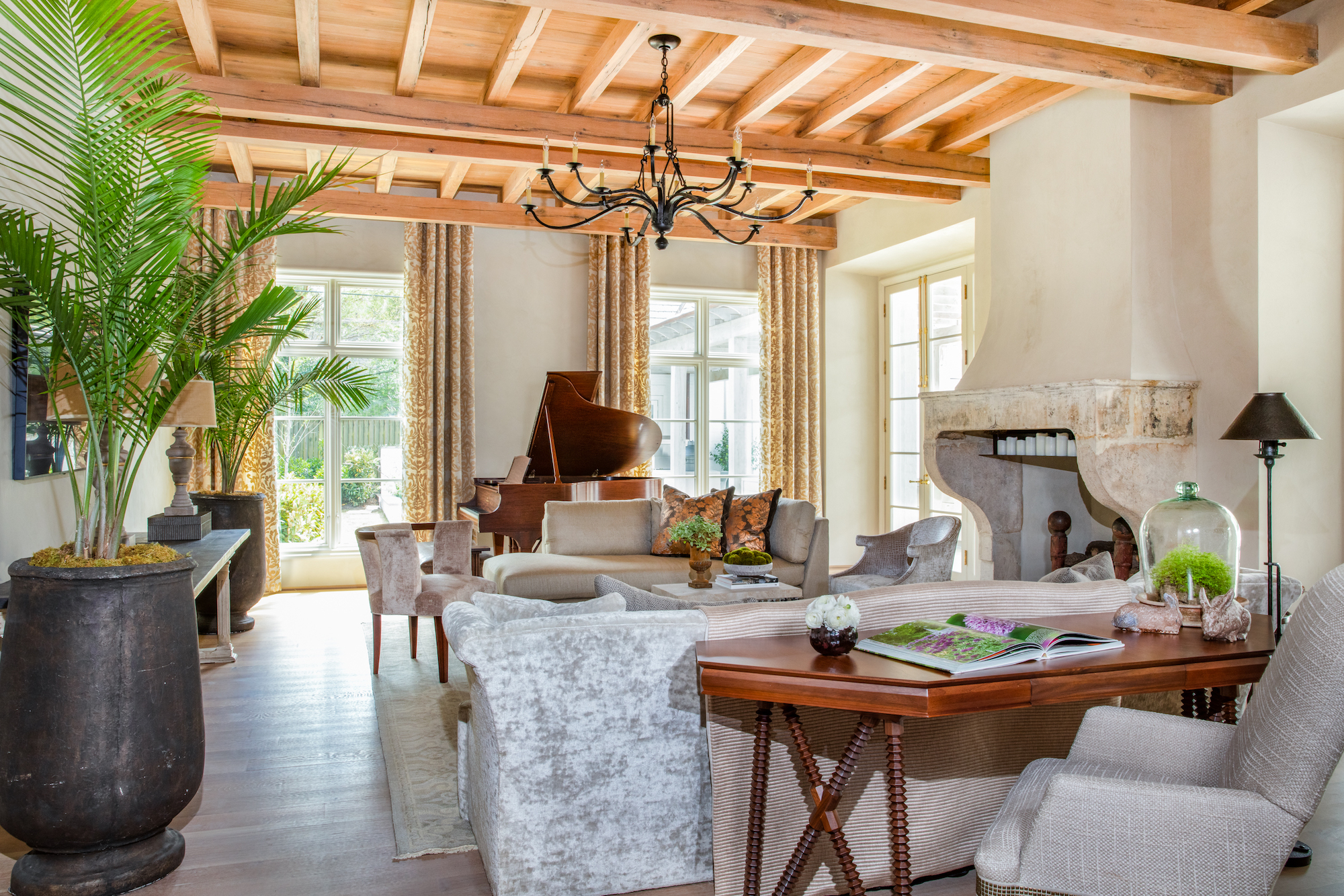 Carlton Edwards-interior design firm-Memphis decorates living space with cypress ceiling