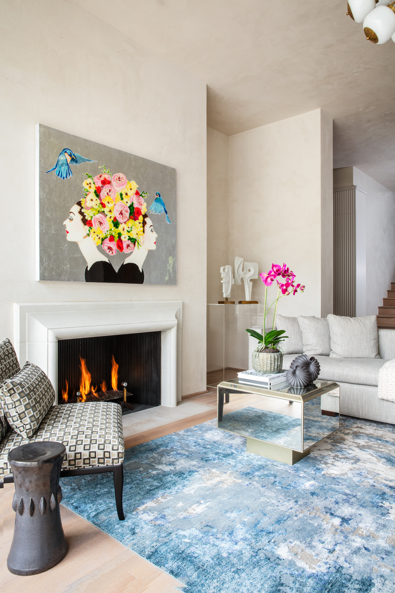 Ashley Longshore modern art inspires the blue rug-interior design firm Carlton Edwards