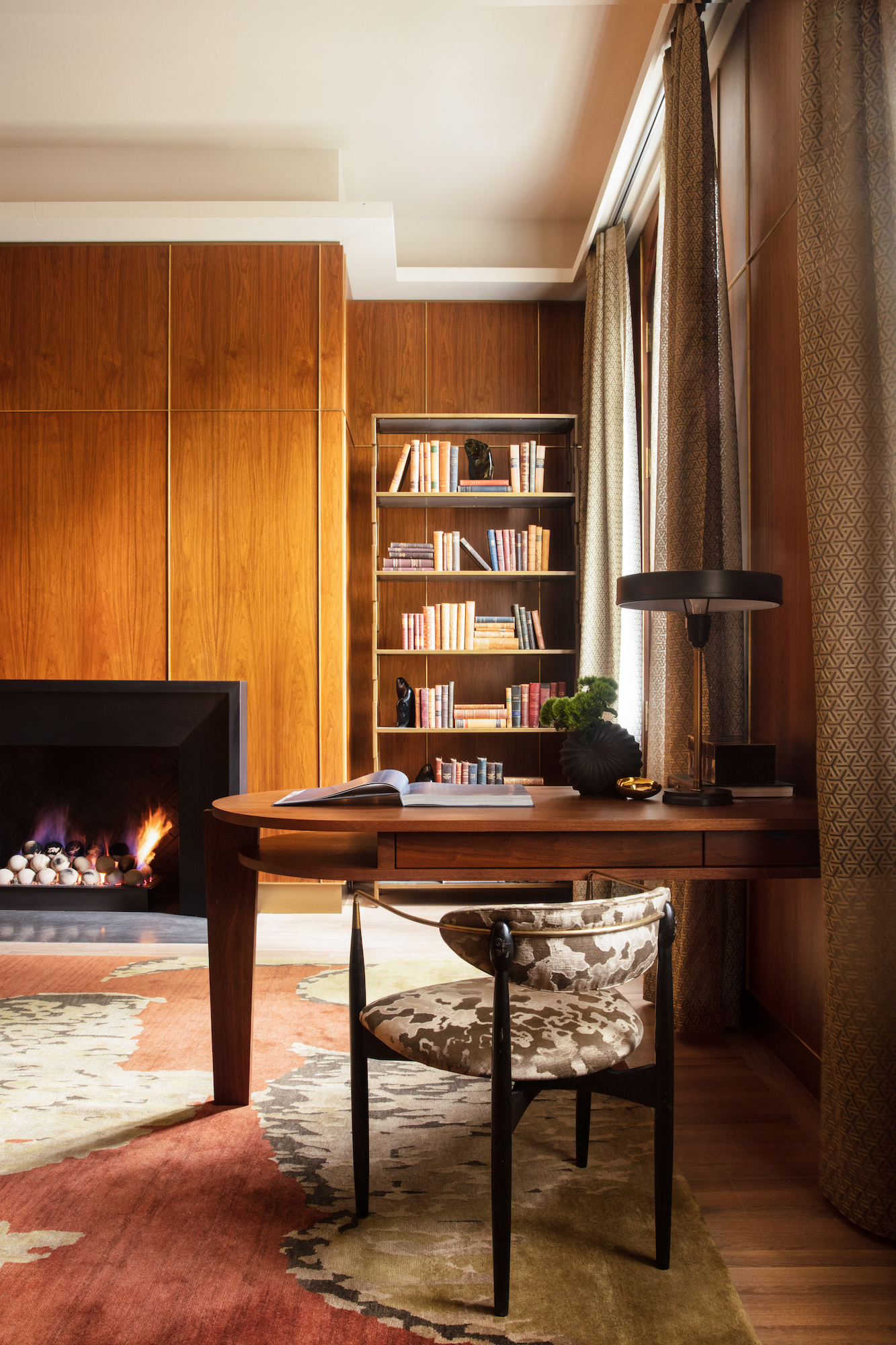 walnut paneling with brass accents-interior design firm-Carlton Edwards