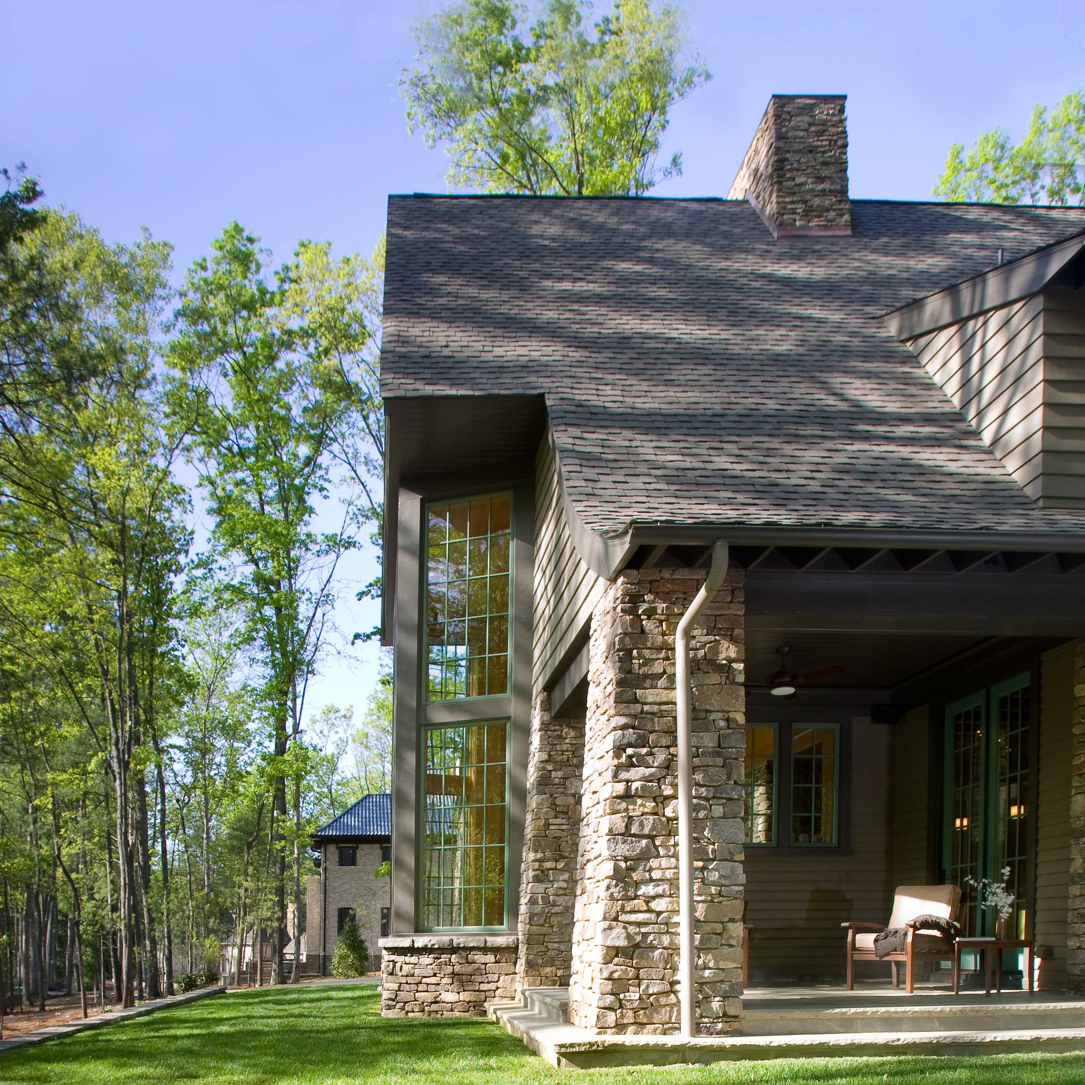 stone exterior mountain modern home