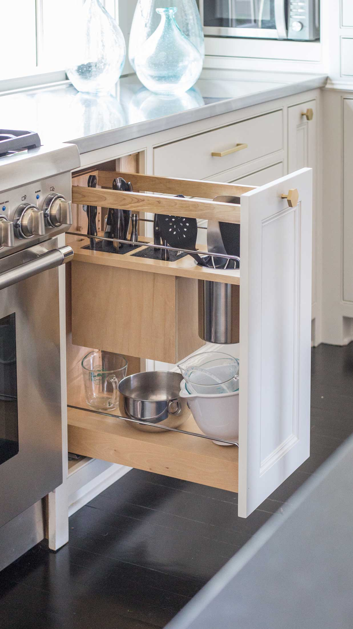 kitchen pullout cabinet for utensils