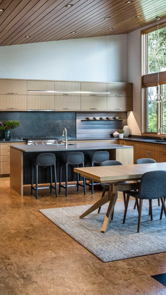 modern kitchen cabinetry-wooden ceiling