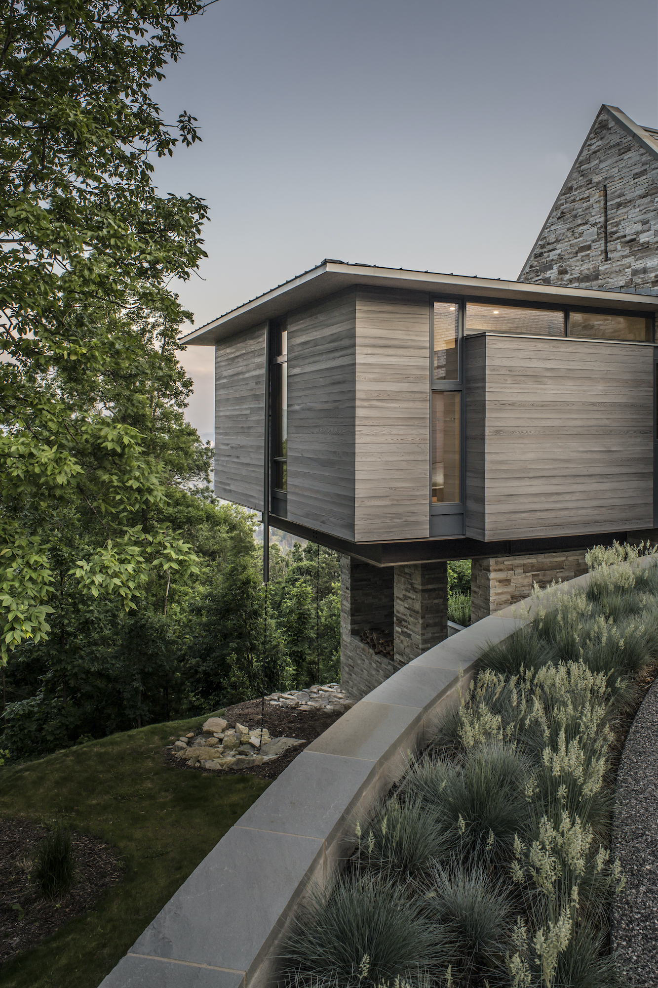wood panel siding of modern mountain home in Asheville NC
