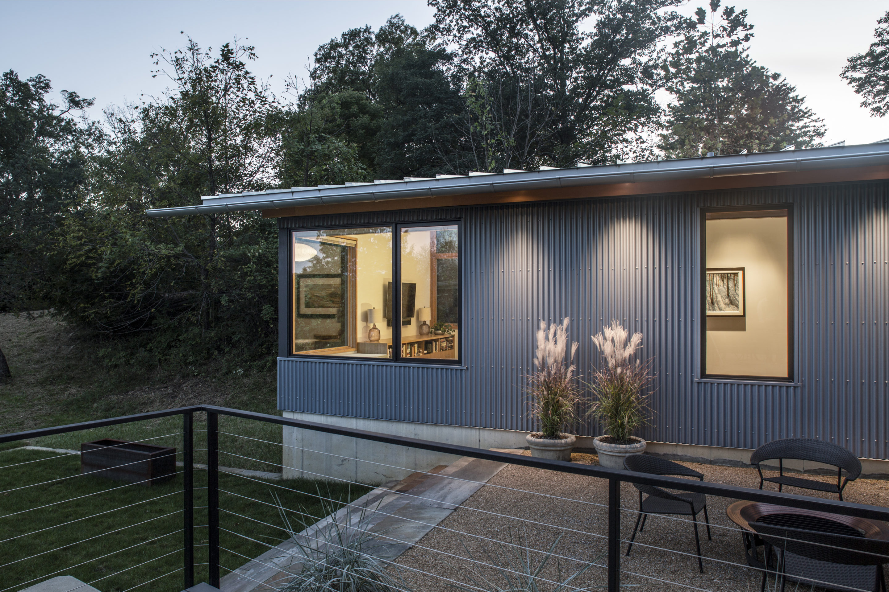 exterior seating-modern green home