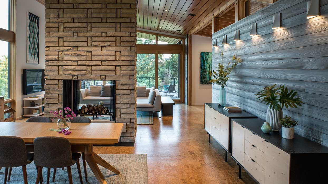 modern fireplace-see-through fireplace and accent wall