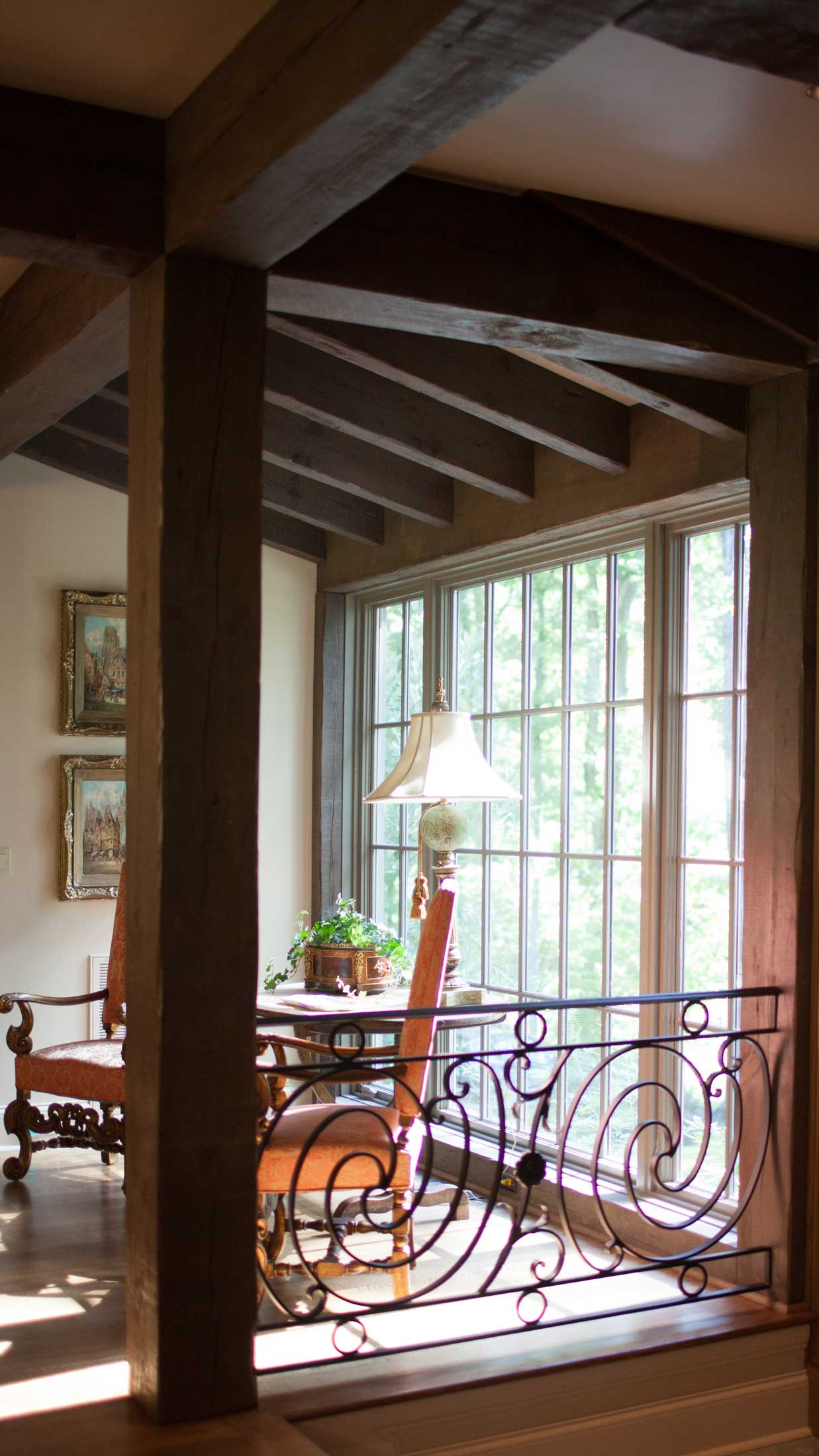 railing accent in wrought iron-dining room seating with view