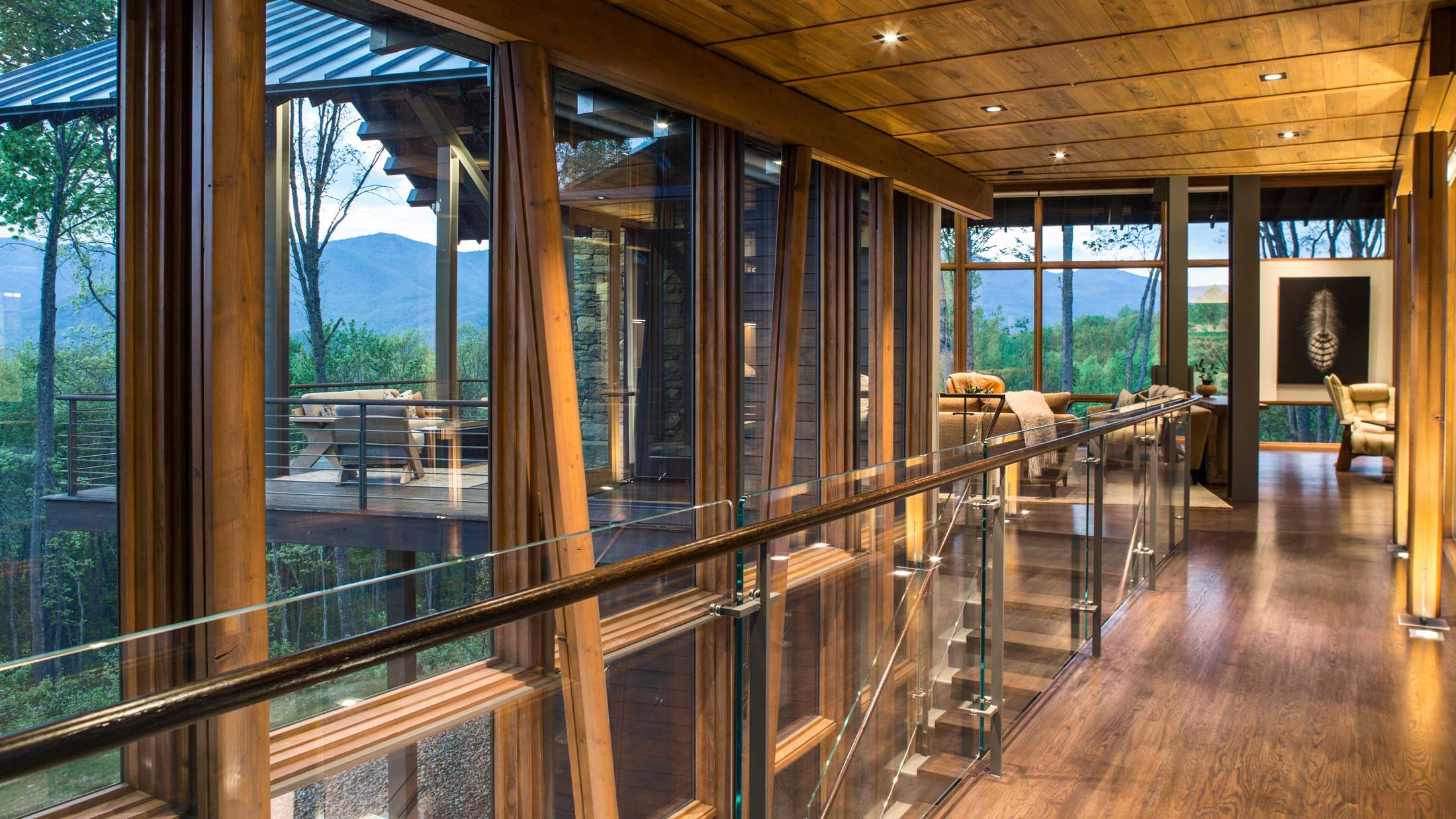 glass and wood interiors-modern home in Asheville