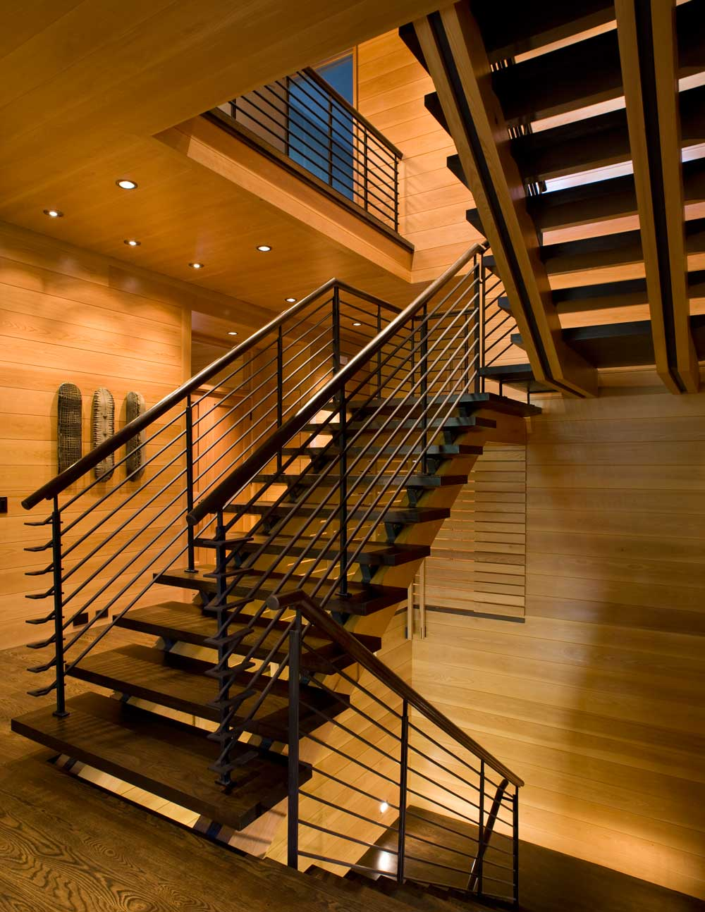 contemporary metal railing three flights
