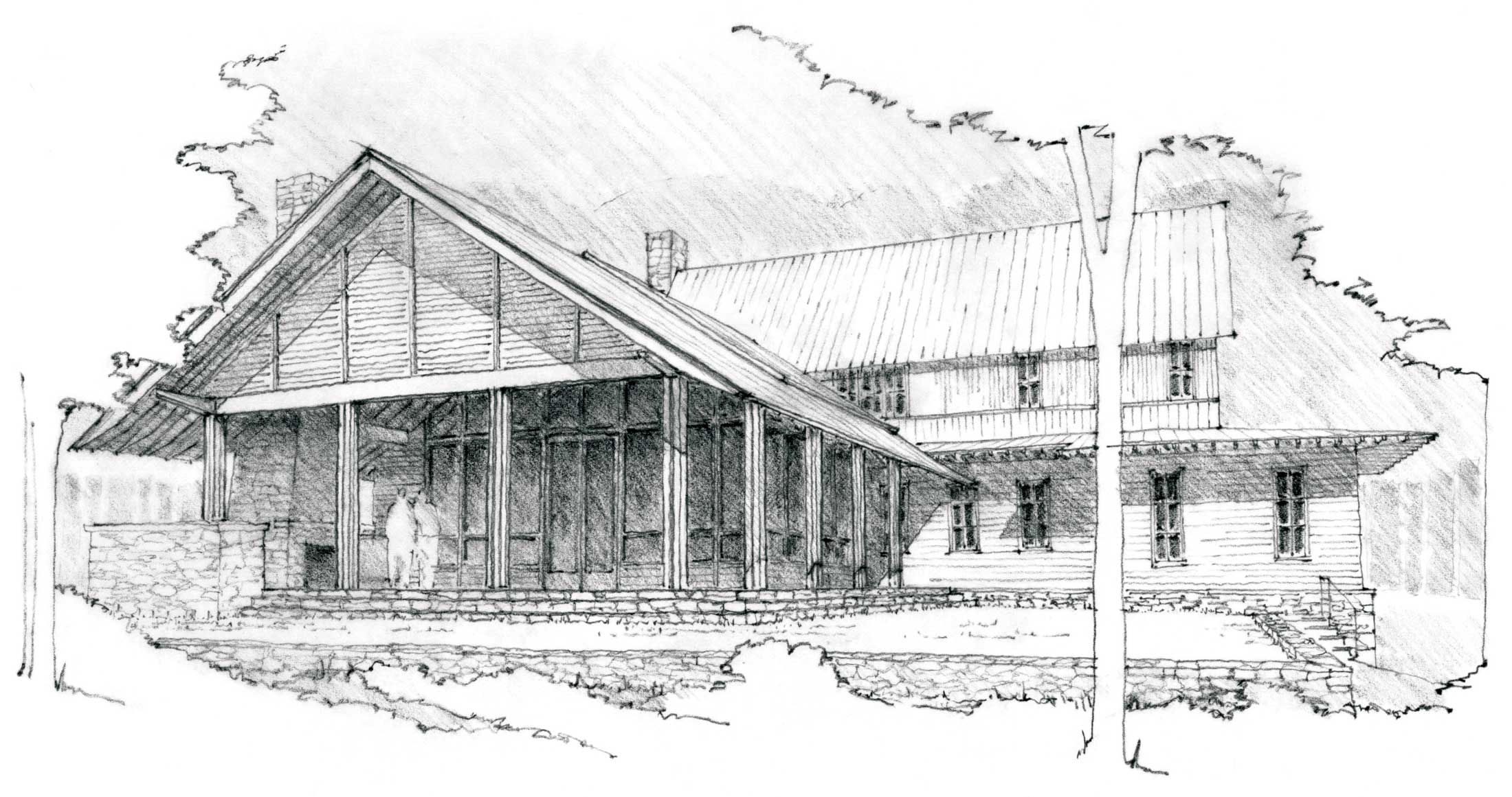 hand rendering of Nethermead home in Asheville