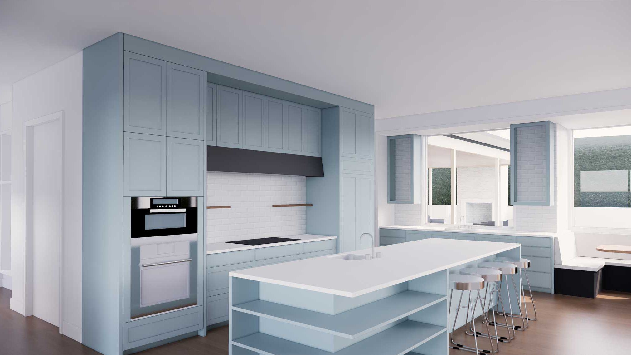 Park-Ave-Enscape-3D rendering services of kitchen layout