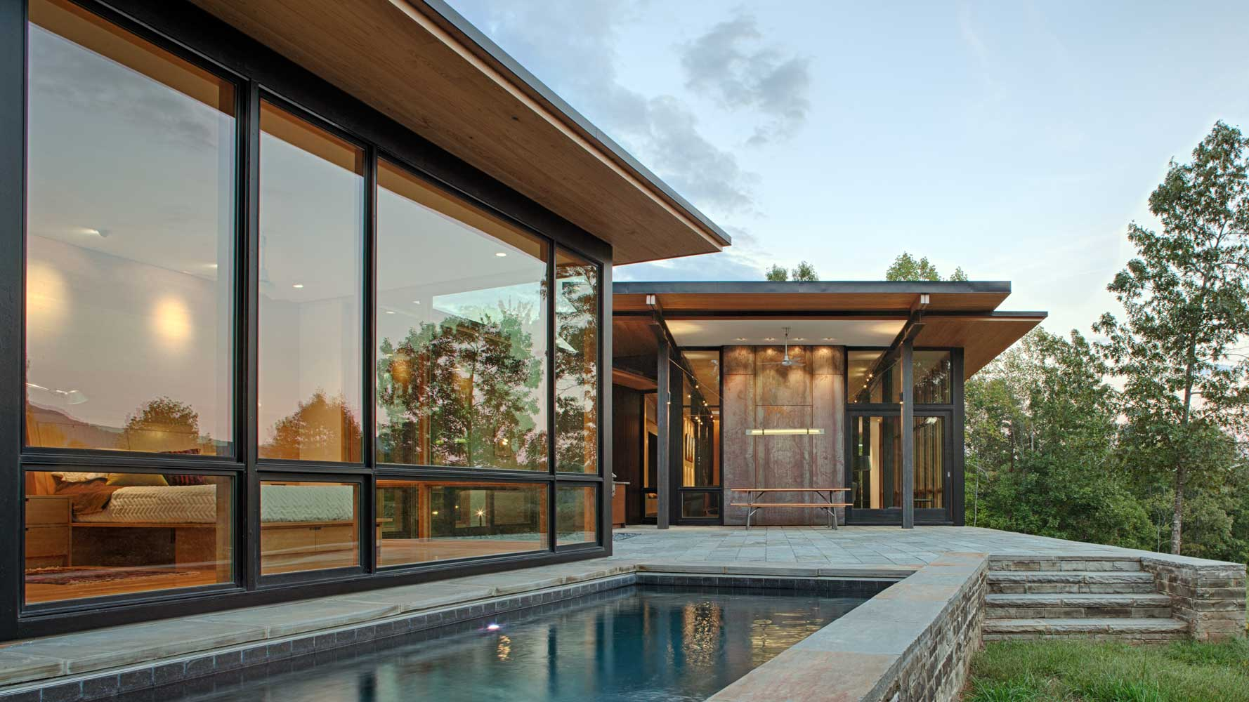 lap pool for modern home in asheville