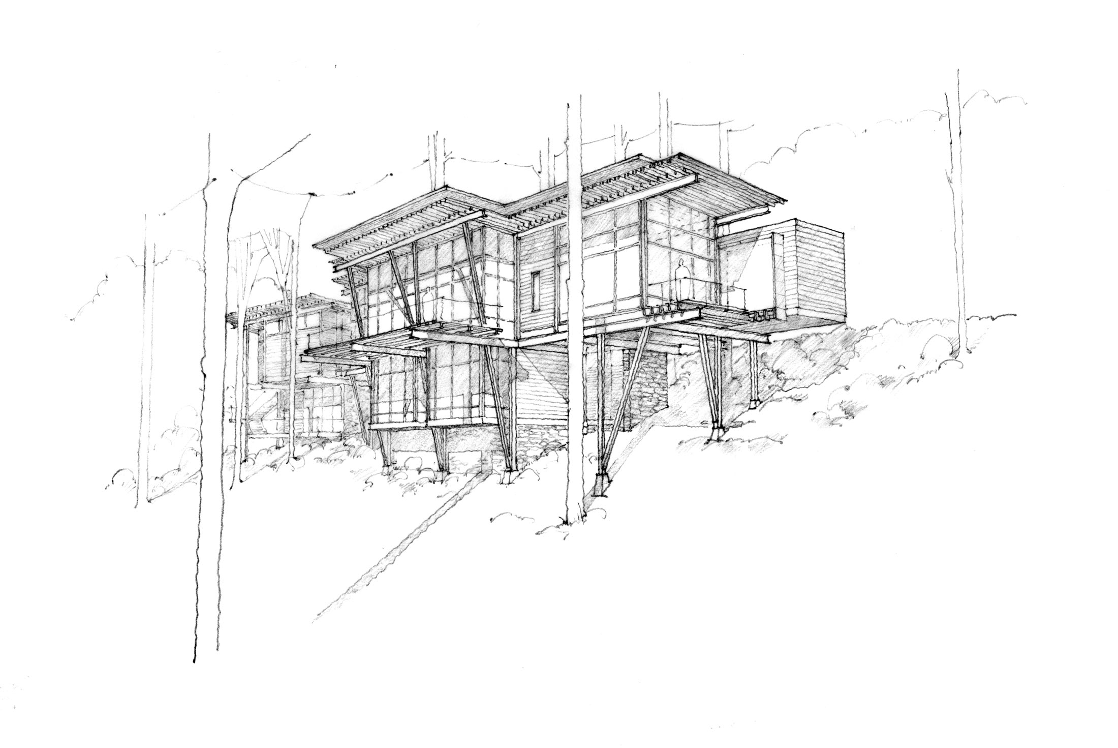 hand rendering of modern home in Asheville