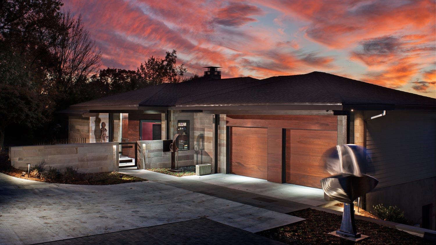 entry to garage and carport-modern home in Asheville