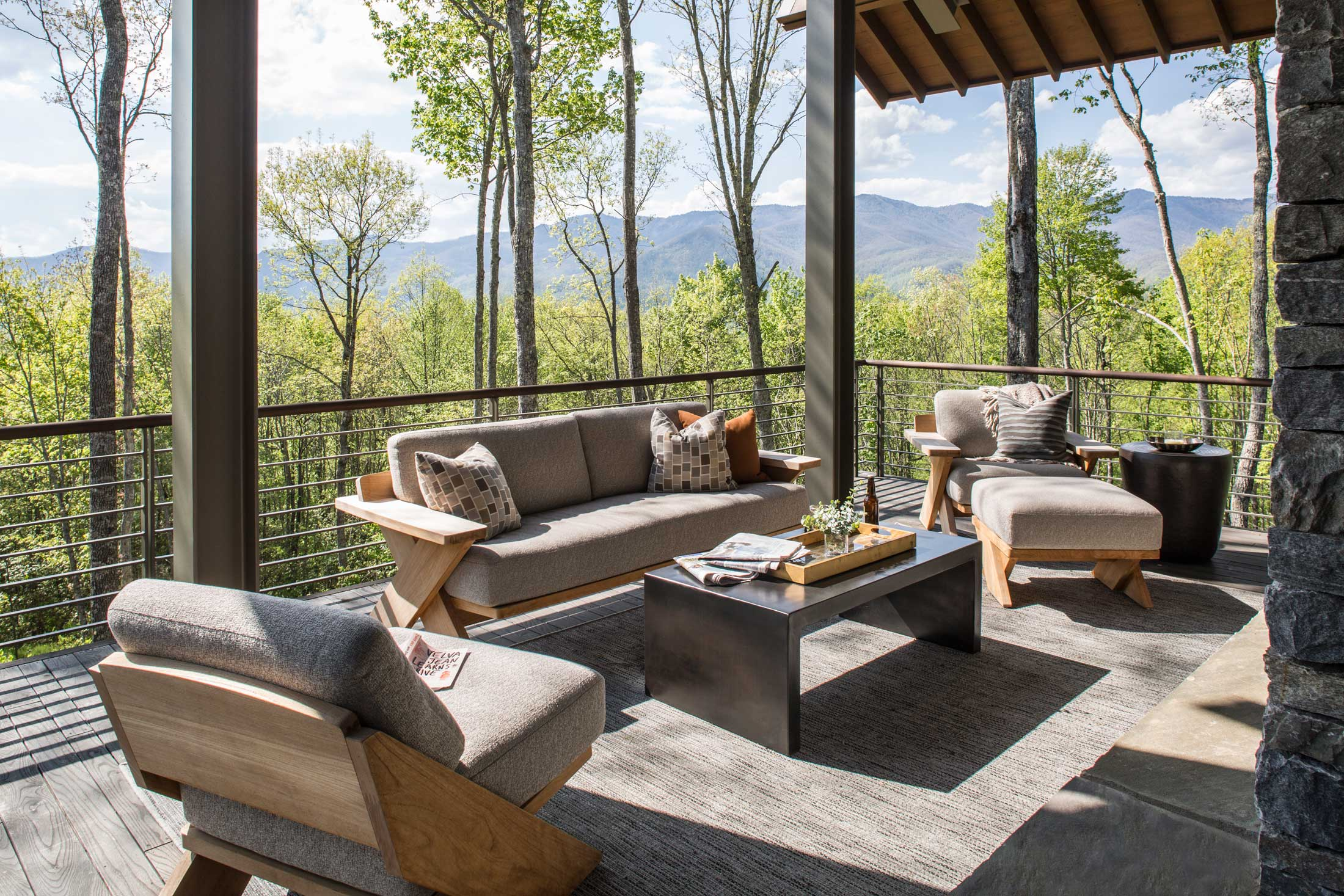 outdoor living on deck-mountain views-Asheville
