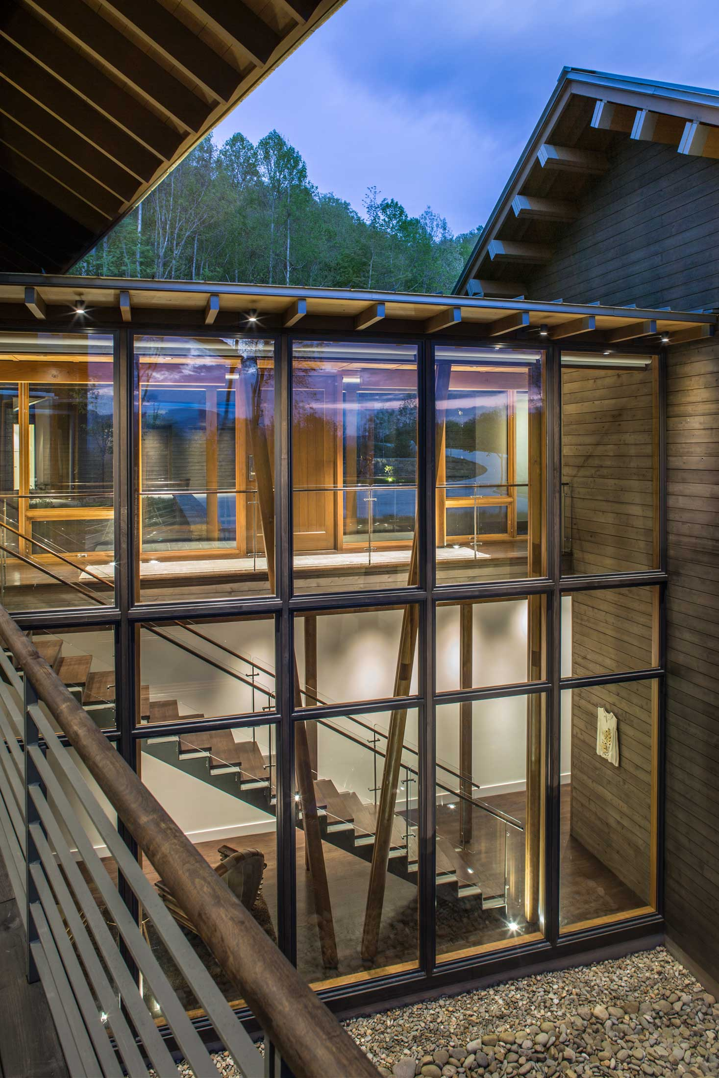 wood glass and steel home structure