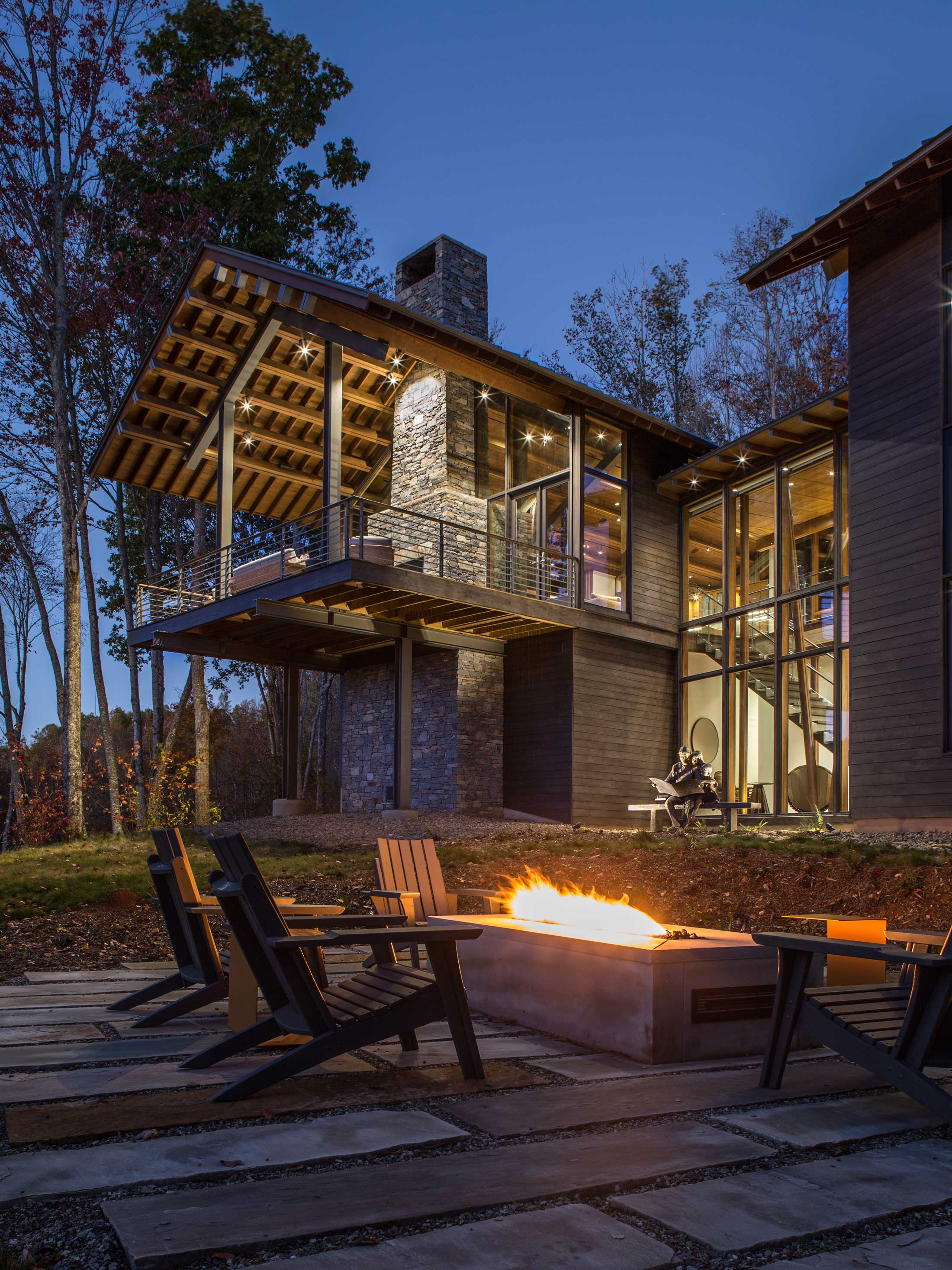 fire pit and seating-outdoor living-mountain modern architecture